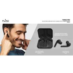 PURO TWINS PRO True Wireless Stereo Earphones 5.0 - Wireless Bluetooth V5.0 Earphones with Charging Case, IPX5 Waterproof (Black)