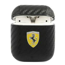 Etui Ferrari Apple AirPods On Track PU Carbon Czarny Case