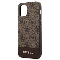 Etui GUESS Apple iPhone 12 Mini 5,4 4G Stripe Collection GUHCP12SG4GLBR Brązowy Hardcase